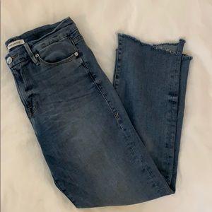Good American cropped raw hem jeans